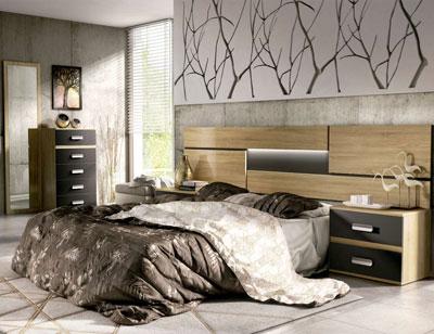 05 dormitorio matrimonio cabecero luces leds sinfonier mural cambrian grafito
