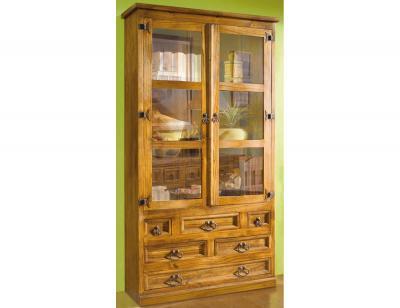 0610801 vitrina 2 puertas madera pino