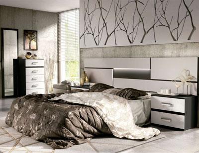 07 dormitorio matrimonio cabecero luces leds sinfonier mural grafito blanco