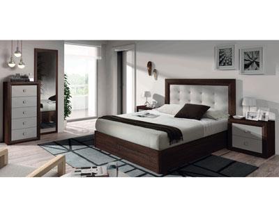 13 dormitorio matrimonio cabecero tapizado sinfonier wengue plata