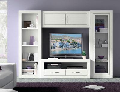 143 mueble salon comedor bajo vitrina tv modulo estantes estanteria soul blanco