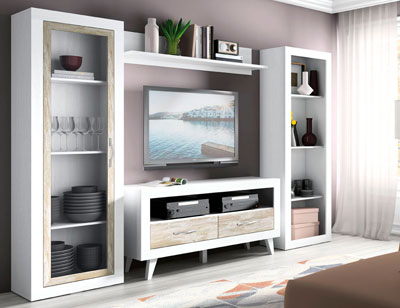 146 mueble salon comedor vitrina estanteria bajo tv soul blanco vintage