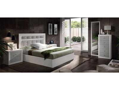 15 dormitorio matrimonio cabecero tapizado sinfonier blanco artico plata
