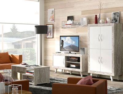 151 mueble salon comedor bajo tv bodeguero mesa centro vintage soul blanco