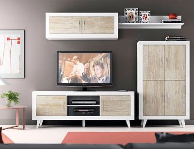 164 mueble salon comedor bodeguero bajo tv soul blanco vintage