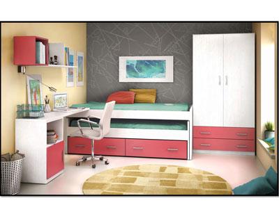 Cama nido con frontal extraible 16334 factory del for Cama nido dormitorio juvenil