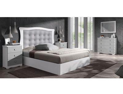 20 dormitorio matrimonio clasico tapizado blanco plata