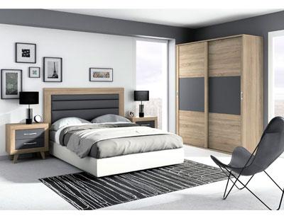 269 dormitorio matrimonio cambrian grafito tapizado gris