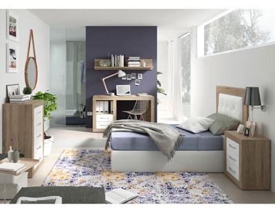 272 dormitorio juvenil cambrian tapizado blanco