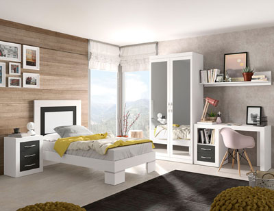 273 dormitorio juvenil soul blanco grafito mate