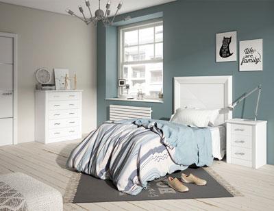 4 dormitorio juvenil madera blanco lacado