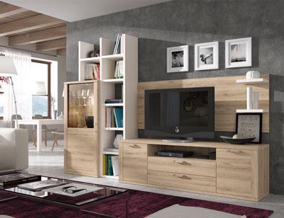 409 mueble salon comedor vitrina tv estanteria roble natural polar