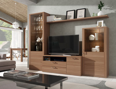 412 mueble salon comedor vitrina tv nogal