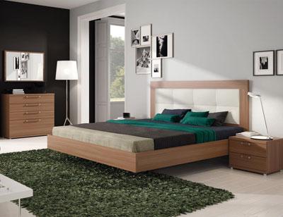 468 dormitorio matrimonio tapizado blanco color nogal comoda
