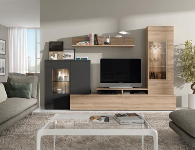 606 mueble salon comedor roble natural antracita foco leds