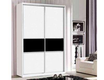 Armario 2p corredera blanco negro 161 cm