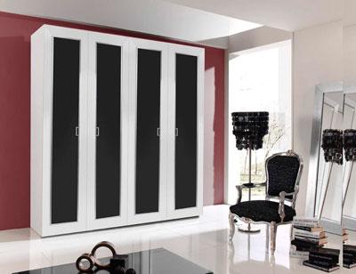 Armario 4p abatibles 240x230x63 blanco negro