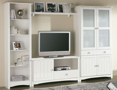 Conjunto mesa sillas en madera color blanco lacado 8068 for Mueble salon lacado blanco