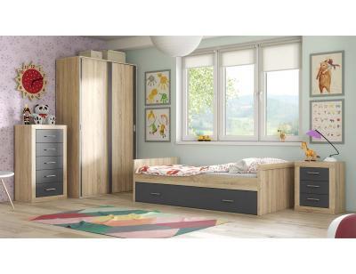 Dormitorio juvenil cambria grafito 64