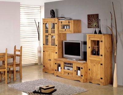 Salon comedor madera rustico vitrina cristal1