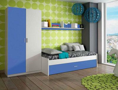 Ambiente01 dormitorio juvenil cama nido armario blanco azul