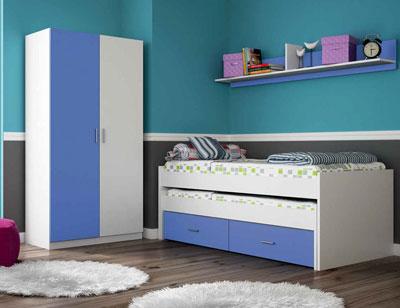 Ambiente03 dormitorio juvenil cama nido ruedas armario blanco azul