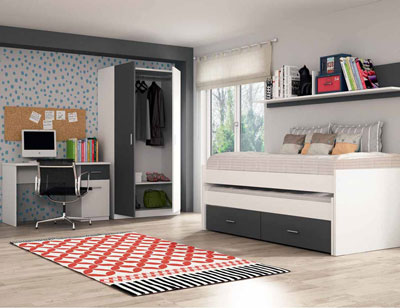 Ambiente06 dormitorio juvenil cama nido ruedas blanco grafito