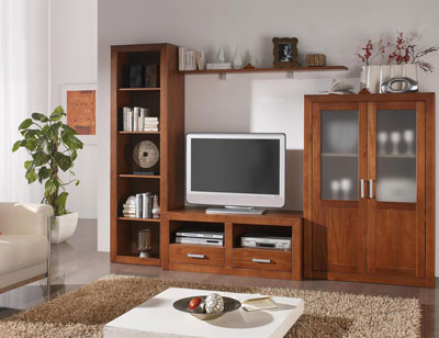 Ambiente10 mueble salon comedor bodeguero tv  estanteria nogal
