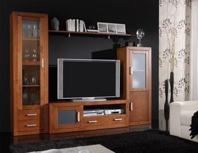 Ambiente11 mueble salon comedor bodeguero tv  vitrina nogal