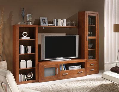 Ambiente13 mueble salon comedor vitrina tv  estanteria vitrina nogal