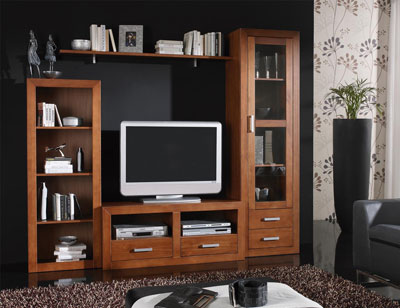 Ambiente16 mueble salon comedor estanteria vitrina tv  nogal
