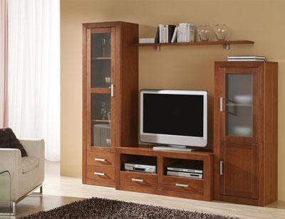 Ambiente17 mueble salon comedor bodeguero vitrina tv  nogal