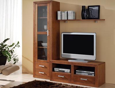Ambiente19 mueble salon comedor vitrina tv  nogal