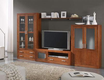 Ambiente2 mueble salon comedor vitrina bodeguero tv nogal