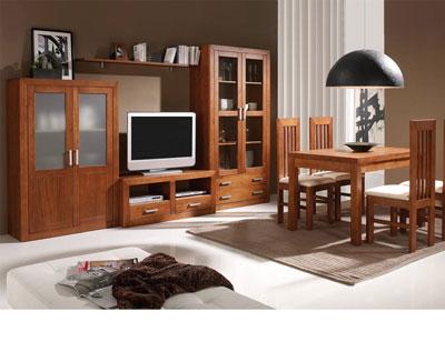 Ambiente3 mueble salon comedor vitrina bodeguero tv mesa sillas nogal