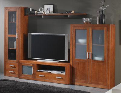 Ambiente4 mueble salon comedor vitrina bodeguero tv  nogal