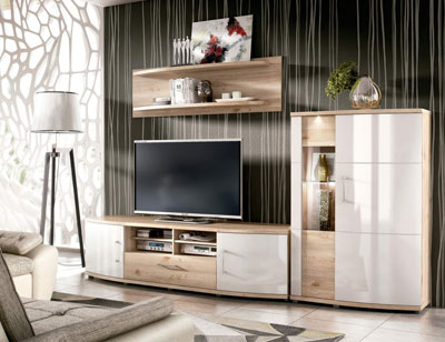 Ambiente4 mueble salon comedor vitrina bodeguero bajo tv estante nelson blanco