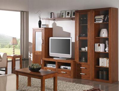 Ambiente6 mueble salon comedor estanteria bodeguero vitrina tv  nogal