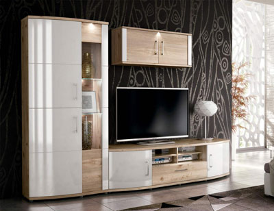 Ambiente6 mueble salon comedor vitrina bodeguero bajo tv alto 2 puertas nelson blanco