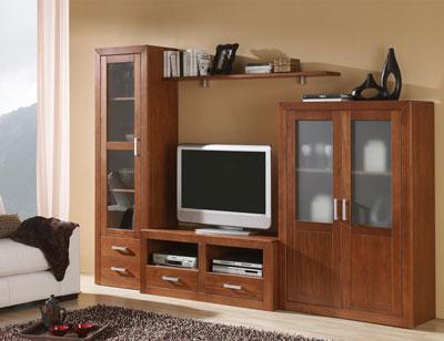 Ambiente9 mueble salon comedor bodeguero tv  vitrina nogal