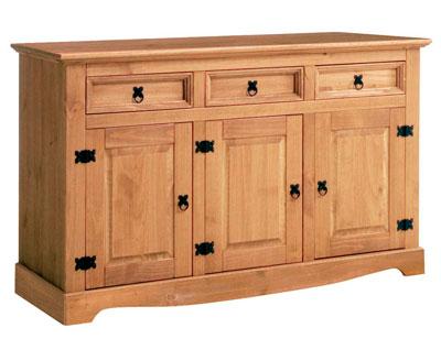 Aparador madera pino comedor 3 puertas 3 cajones 143 cm