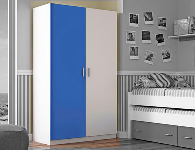 Armario 2 puertas blanco azul