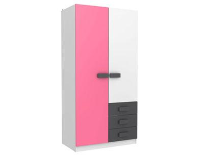 Armario juvenil puertas cajones 434 rosa