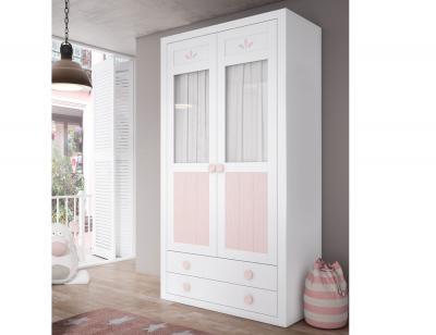 Armario madera juvenil blanco rosa flor