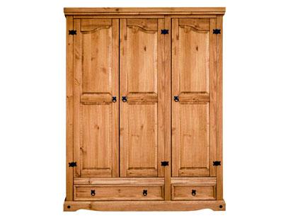 Armario madera rustico 3 puertas 2 cajones 151 cm