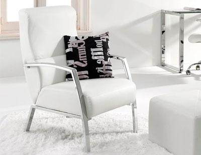 Butaca sillon espera simil piel blanc 2