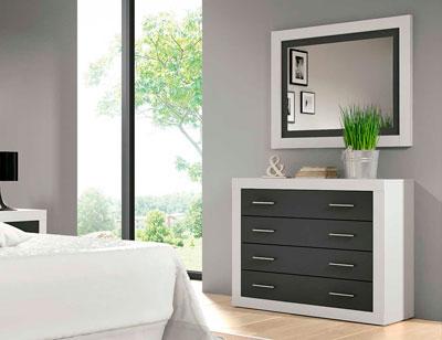 Comoda dormitorio matrimonio moderno blanco grafito