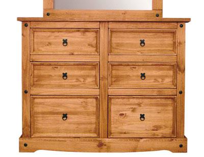 Comoda madera rustico 6 cajones 133 cm