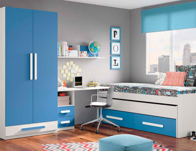 Composicion 300 dormitorio juvenil blanco azul marino