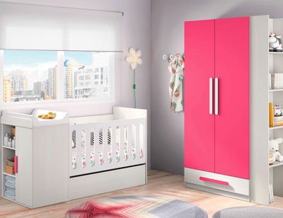 Composicion 302 dormitorio juvenil blanco fucsia